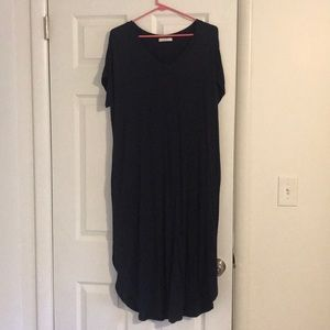 Navy Blue T-shirt Dress with Pockets